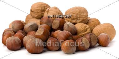 Nuts Isolated On White Background Stock Photo