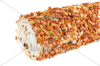 Nuts Swiss Roll Closeup Isolated Stock Photo