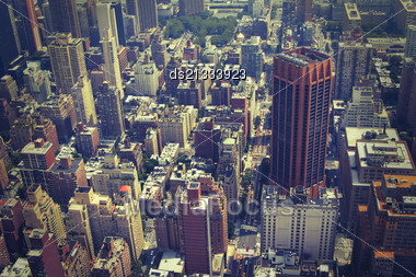 NYC From Above Toned Image , Crossprocessed Colors Stock Photo