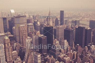 NYC Midtown From Above Toned Image Stock Photo