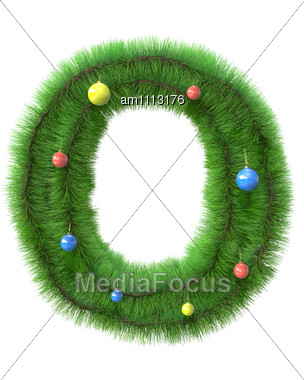 O Letter Made Of Christmas Tree Branches Stock Photo