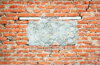 Obsolete Brick Wall Texture Pattern (vignette) Stock Photo