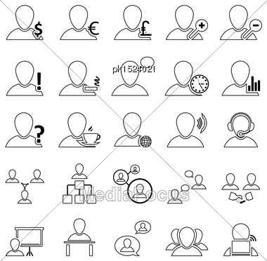 Office And People Icon Set In Thin Line Design Stock Photo