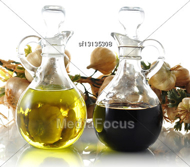 Oil And Vinegar Bottles , Close Up Stock Photo