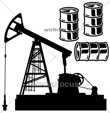 Oil Barrel Graph With Red Arrow Pointing Down. Vector Illustration Stock Photo