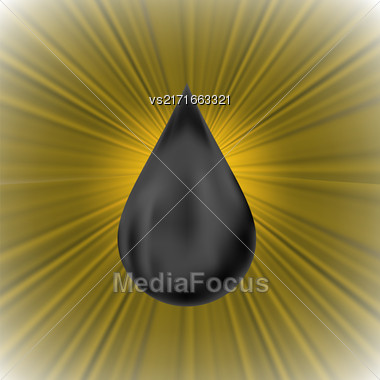 Oil Drop On Brown Radial Wave Background Stock Photo