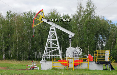 Oil Pumpjack. Oil Industry Equipment Stock Photo