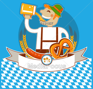 Oktoberfest Symbol Kabel With Man And Beer.Vector Color Illustration For Text Stock Photo