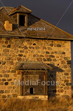 Old Abandoned Stone House In Saskatchewan Canada Stock Photo