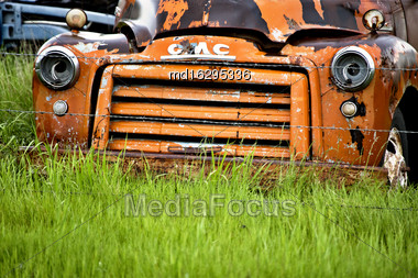 Old Abandoned Truck In A Field Saskatchewan Stock Photo