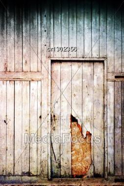 Old And Damaged Wood Door Stock Photo
