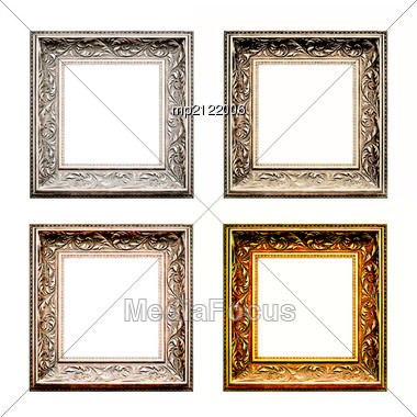 Old Antique Frame Set Over White Background. Gold, Silver And Bronze. Stock Photo