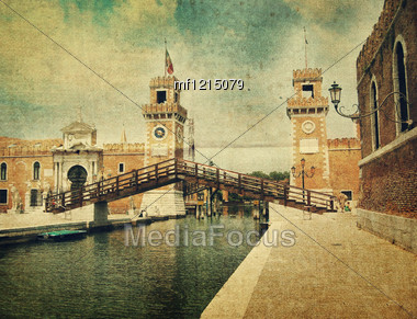 Old Bastille In Venice. Old Style Picture Stock Photo