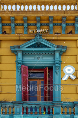 Old Blue Yellow Little Terrace Red Venetian Blind Sky And Roof In The Centre Of Buenos Aires La Boca Argentina Stock Photo