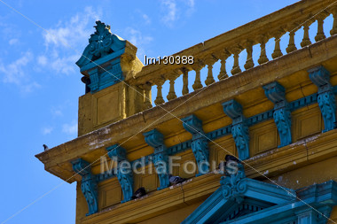 Old Blue Yellow Little Terrace And Roof In The Centre Of Buenos Aires La Boca Argentina Stock Photo