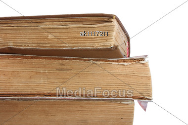 Old Books. Close-up Stock Photo