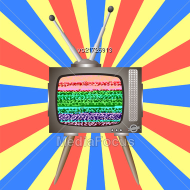 Old Broken Television On Colorful Background. Glitch On Retro TV Screen Stock Photo