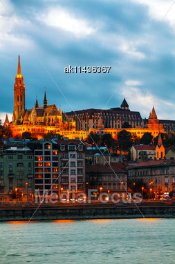 Old Budapest With St. Matthias Church At Night Stock Photo