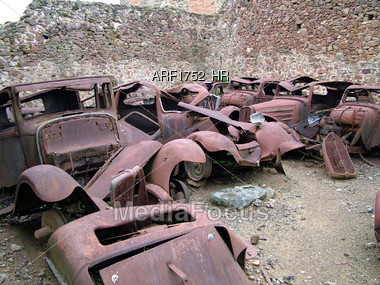 Stock Photo Old Cars At The Junkyard Image Arf1752 Hr