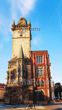 Old City Hall In Prague Early In The Morning Stock Photo