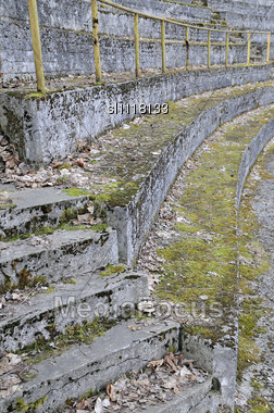 Old City Sports Stadium, The Tribunes Moss-grown And Filled Up By Last Year's Leaves Stock Photo