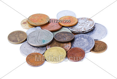 Old Coins Isolated Over White Stock Photo