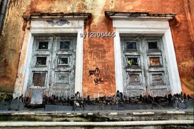 Old Door In Ancient Building Stock Photo