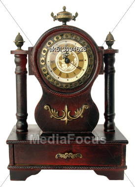 Old Fashioned Clock Isolated On White Stock Photo