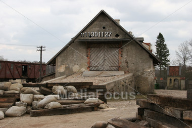 Old Freight House Next To The Railway At Cinema Town In Latvia Stock Photo