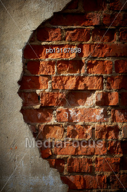 Old Grunge Brick Wall With Space For Text. Vertical Orientation Stock Photo