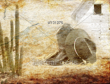 Old Grunge Cowboy Style Texture For Background Stock Photo