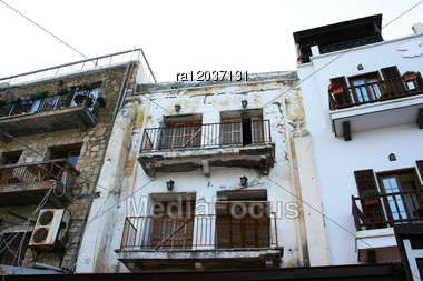 Old Houses In Kyrenia, Northern Cyprus. Stock Photo