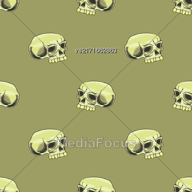 Old Human Skull Seamless Pattern On Brown Background Stock Photo
