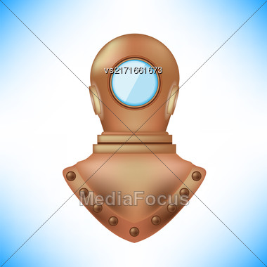 Old Metal Diving Helmet Isolated On Blue Background Stock Photo