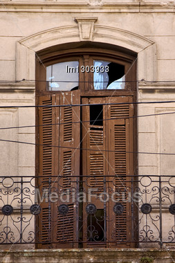 Old Metal Little Terrace Brown Broke Venetian Blind In The Centre Of Buenos Aires La Boca Argentina Stock Photo