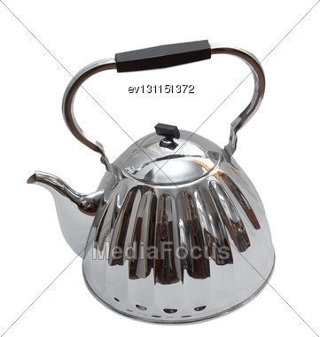 Old Metal Teapot On White Background. Isolated Over White Stock Photo