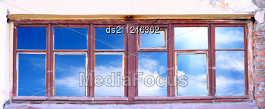 Old Obsolete Window And Sky And Sun Stock Photo