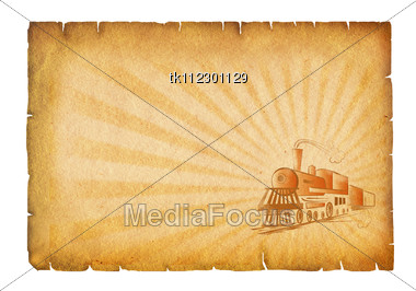Old Paper Background With Locomotive.Grunge Texture Stock Photo