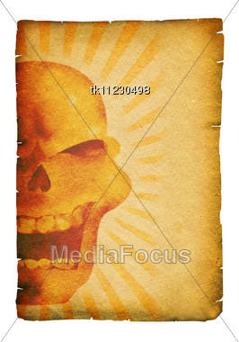 Stock Photo Old Paper Scroll Skull Decor Background - Image