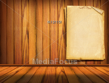 Old Papers On Wood Wall. Background For Design Stock Photo