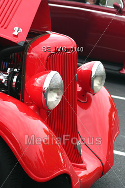 Old Red Car at Show Stock Photo