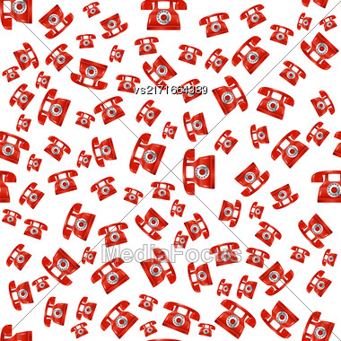 Old Red Phone Seamless Pattern On White Background Stock Photo