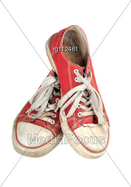 Old Red Sneakers Stock Photo