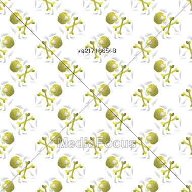 Old Retro Human Skull Seamless Random Pattern Stock Photo