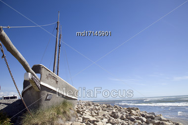 Old Shipwreck Hokitika New Zealand South Island Stock Photo