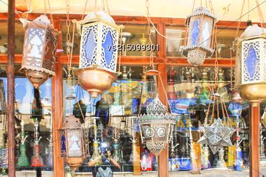 Old Street Lamps At Sun Light Stock Photo