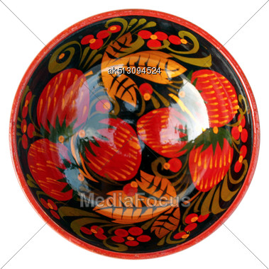 Old Style Bowl With Paintings Stock Photo