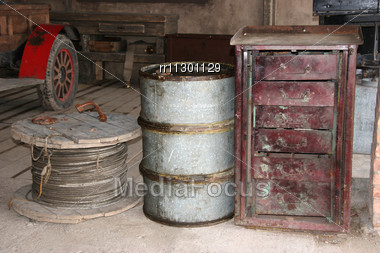 Old Style Firefightning Objects At Fire-department In Cinema Town Stock Photo
