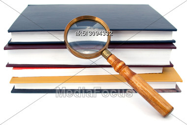 Old Style Magnifying Glass Isolated On White Stock Photo