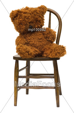 stock photo old teddy bear sitting antique bentwood image mp100982 old teddy bear sitting on. Black Bedroom Furniture Sets. Home Design Ideas